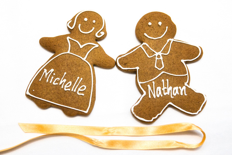 Ginger bread people with the names of all the wedding guests written in icing. Photo shows the bride and grooms ginger bread people.