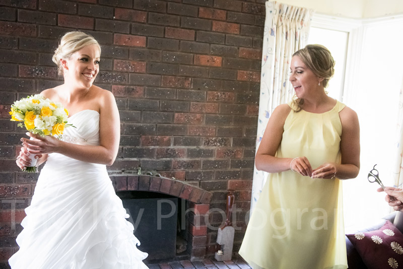 Bridesmaids have a laugh.