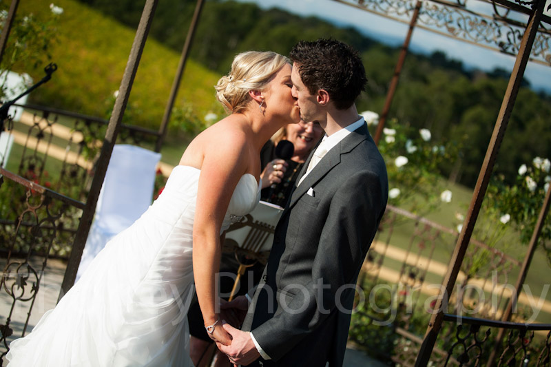 The ceremonial wedding kiss at Yarra Ranges Estate.