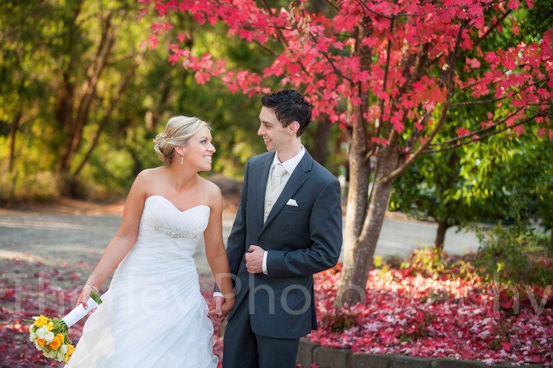 Photo of bride and groom walking together in front of red autumn leaves at Yarra Ranges Estate winery.