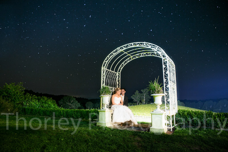 Nightscape wedding photo of the bridal couple sitting in a rose arch in front of a star covered night sky.