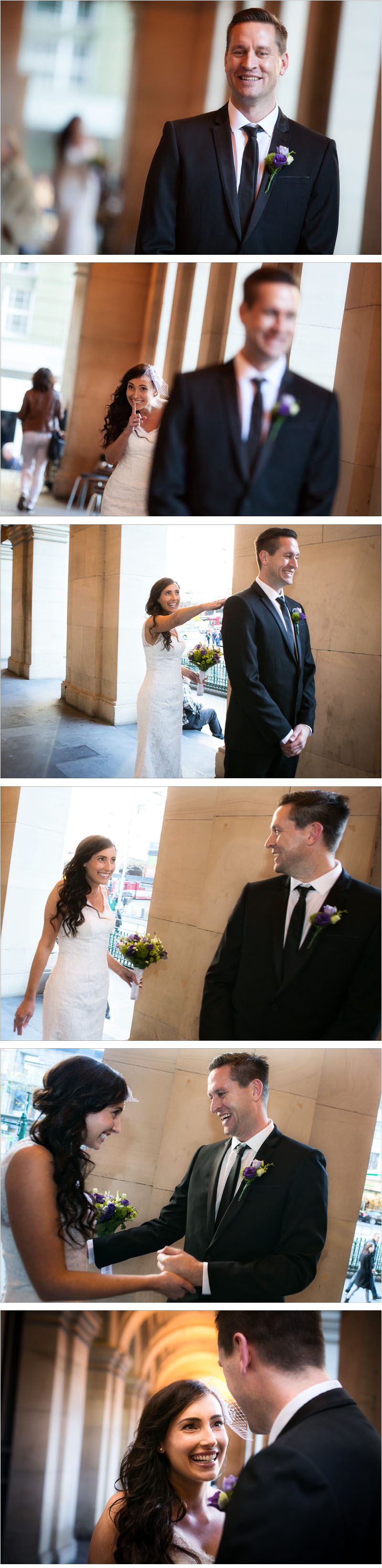 photo series of bride reveal at the Melbourne GPO
